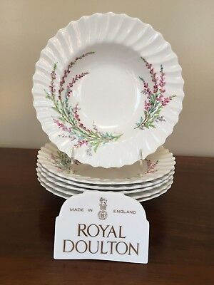"""Bell Heather (Royal Doulton BELL HEATHER SCALLOPED 8 ¼""""  Rim Soup Bowl ~ Set of 6  (lot 2))"""