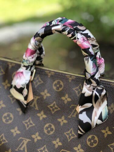 Floral Twill Scarf Hair Scarf Handbag Scarf Purse handle Sca