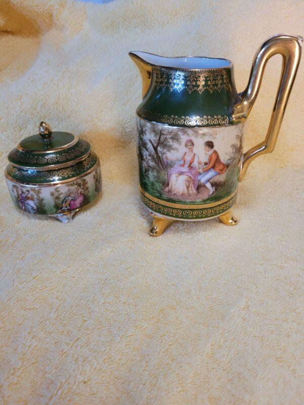 Vintage Vienna Victorian  Creamer And Sugar Bowl Beehive Mark