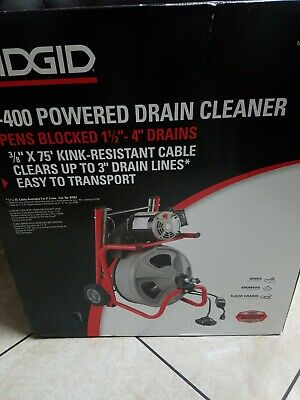 Ridgid 52363 K-400 Drain Cleaner Machine W 38 X 75ft Cable