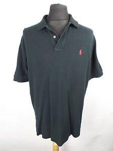 POLO-Ralph-Lauren-Black-Polo-Shirt-Mens-XL-Retro-90s-Nineties-Vintage