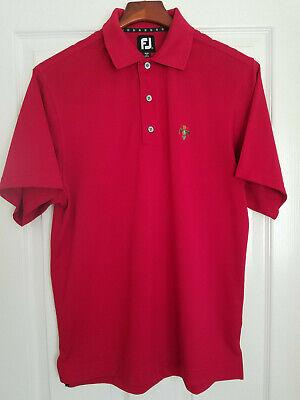 FootJoy Mens Golf Polo Shirt Polyester Pique Mesh Red Thunderbird CC Sz. SMALL Polyester Pique Mesh