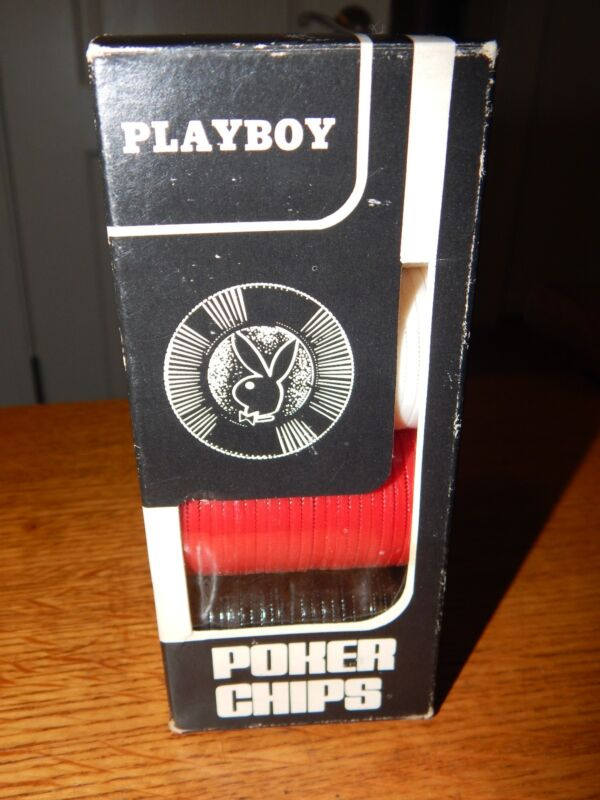 AUTHENTIC 1974  PLAYBOY BUNNY POKER CHIPS NEW OLD STOCK IN BOX OF 100