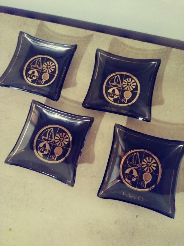 JOCKEY CLUB Vintage Square Glass Butter Pats Set Of 4