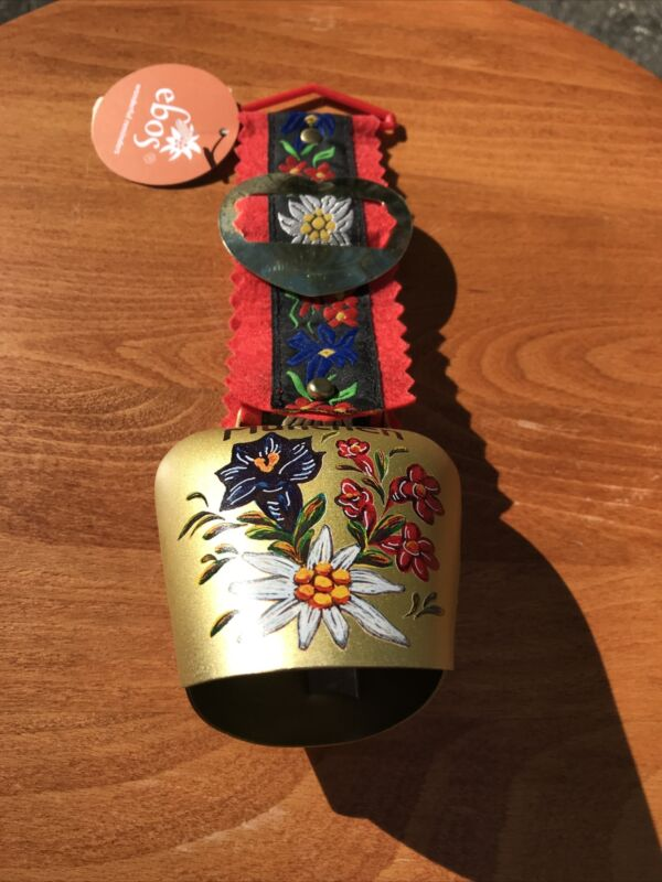 New w/Tag Hand Painted Munich / Munchen Metal Souvenir Cow Bell w/ Floral Strap