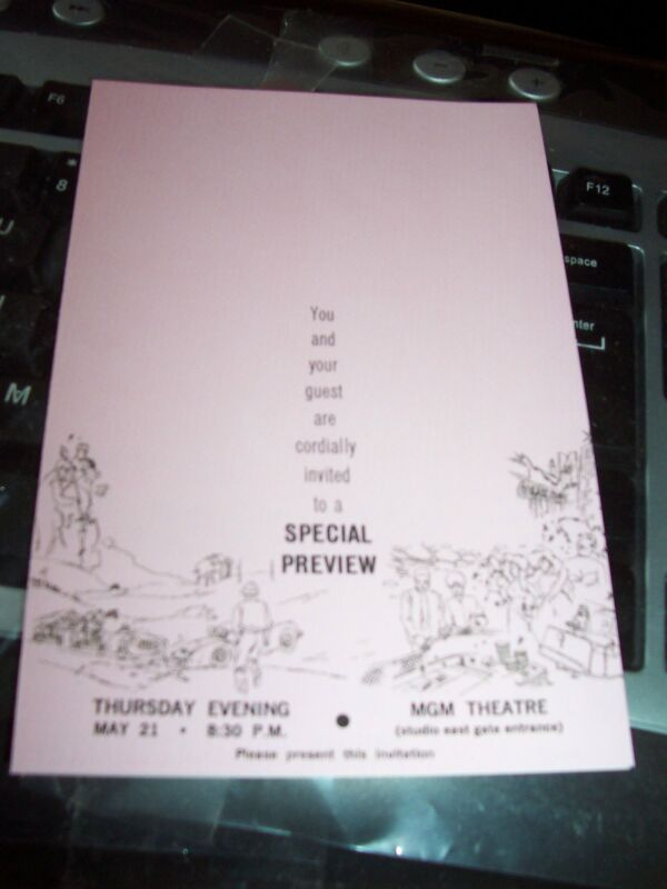 ELVIS PRESLEY SPECIAL PREVIEW PINK INVITATION CARD TO VIVA LAS VEGAS AT MGM