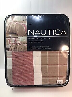 Nautica Crimstead Twin Quilt Reversible Quilt In Khaki/Red New in package
