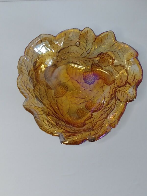 Iridescent Carnival Glass Marigold Blackberry Pattern Berry Bowl Nut Dish