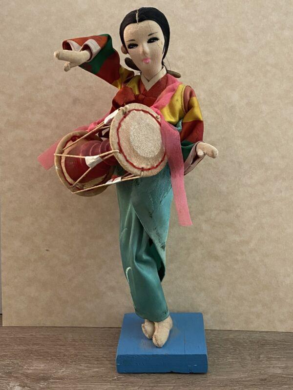 "Rare Vintage/Antique Asian Cloth Doll  Figurine On Wood Base 8"""