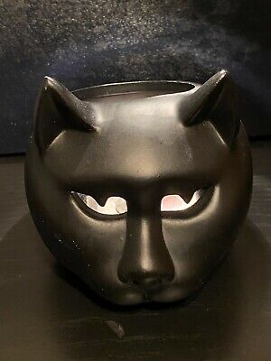 Vintage Creepy Black Cat Tea Light Candle Holder Halloween Spooky Scary Kitten