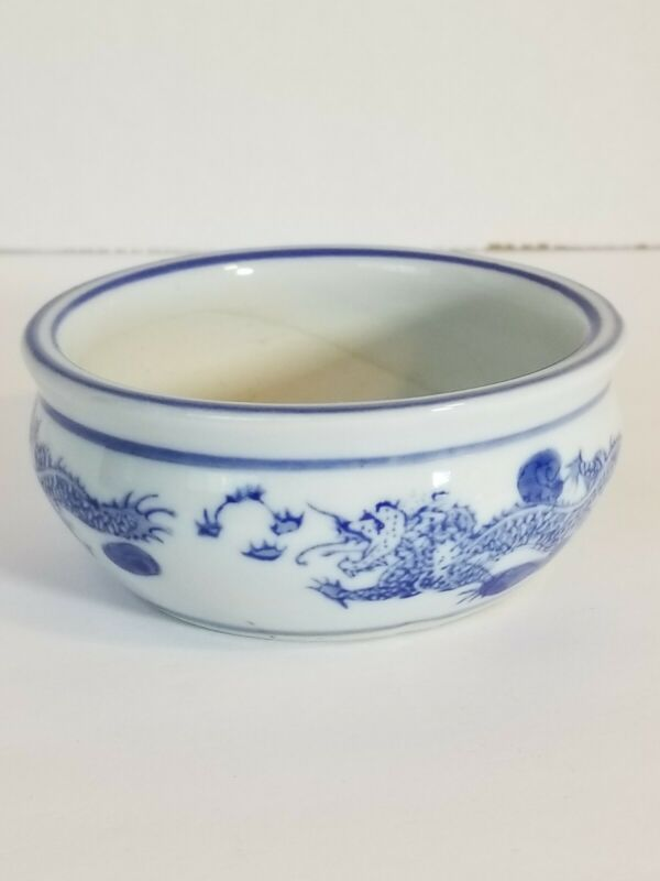 "Vintage Blue and White Dragon Bowl 1 3/4"""