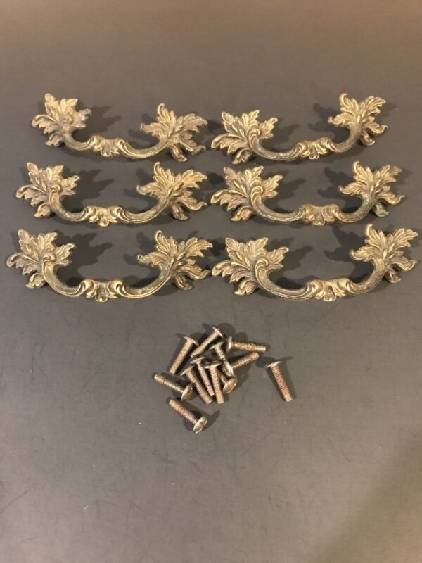6 Vintage Curved French Provincial Drawer Pulls Antique Brass SEE PICS !!!