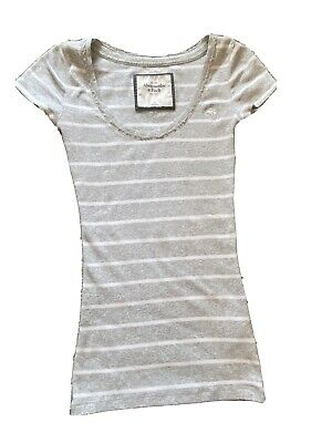 Abercrombie & Fitch Grey & White stripe T-shirt Top size small