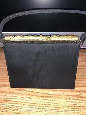 1930's-40's Unbranded Women's Vintage Black Tie Handbag Gold Trim Evening Purse