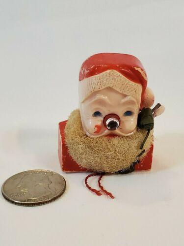 Vtg Light up Nose CHRISTMAS SANTA Claus Face Head PIN BROOCH Hong Kong Parts r R