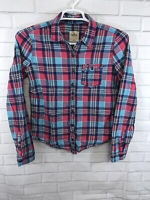 Hollister Women's Shirt Long Sleeve Button Up Plaid Cotton Size Large
