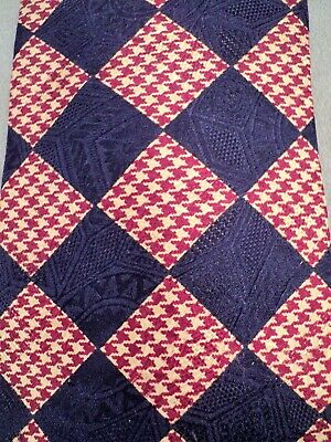 "Vintage PAOLO GUCCI Silk TIE Burgndy & Tan Houndstooth on Navy 3 7/8"" Wide ITALY"