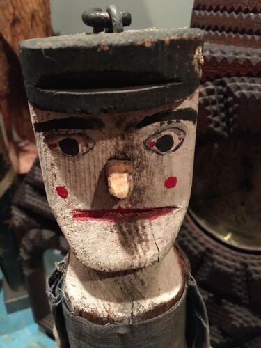 Folk Art Wood & Cloth Puppet / Jigger on stand