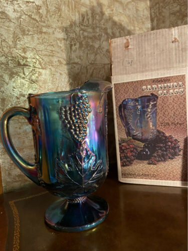 Vintage Blue Purple Harvest Grape Carnival Glass Water Pitcher w/Original Box