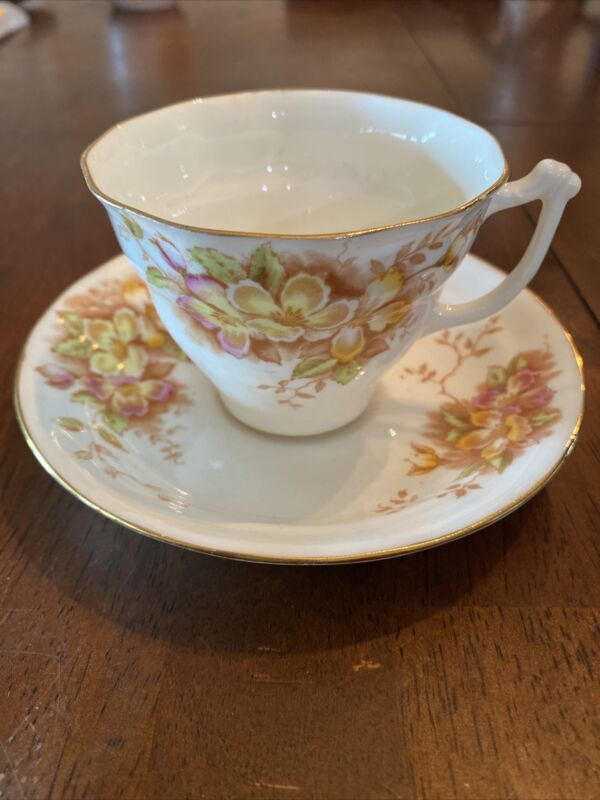 Vintage Tea Cup Saucer Sampson Smith Old Royal Bone China Made In England Floral