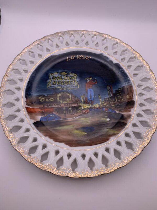 "Las Vegas, NV, Lattice Golden Nugget Plate, 8.25"" Vintage"