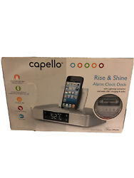 Capello Stereo FM Clock Alarm Radio with Lightning Dock for iPhone 5/5S & 6, New