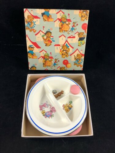 Vintage Bartsch Baby Child Divided Warming Dish Pink Elephants Dog Original Box