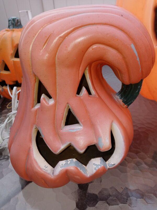 "Halloween Pumpkin Trendmaster Gemmy Light up 12"" Vintage used Creepy Scary Gord"