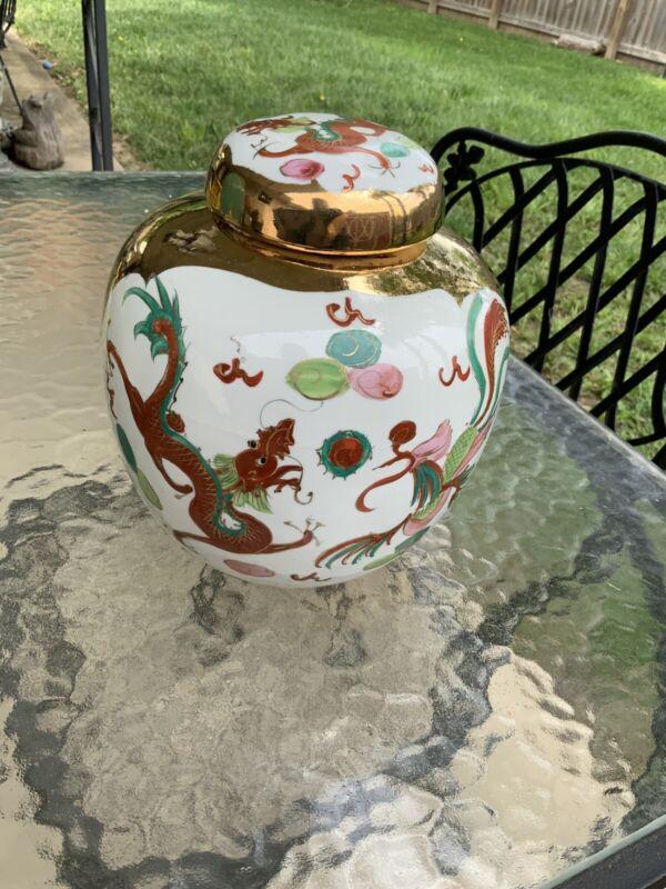 Wonderful Antique Vintage Chinese Signed Red Dragon Ginger Jar