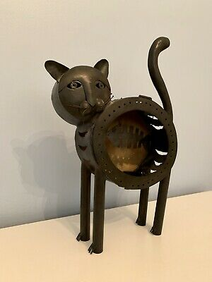 Vintage welded Cat Fish Light Sculpture Brutalist Metal Mid Century Modern covid 19 (Cat Fishing Sculpture coronavirus)