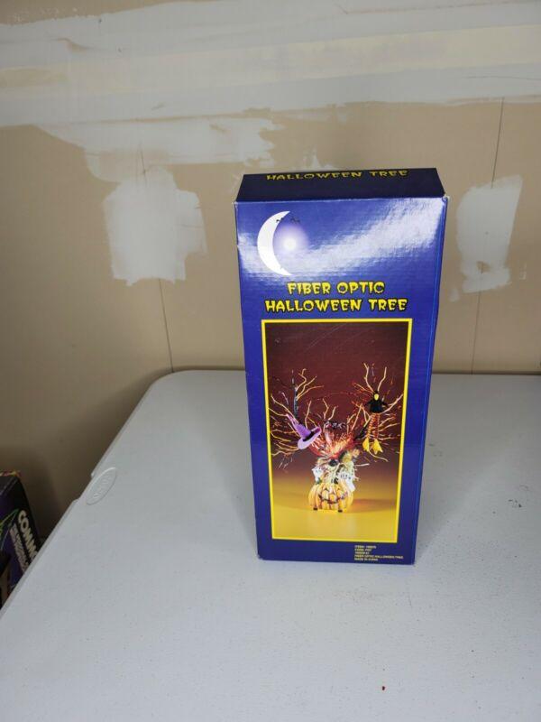 "Fiber Optic 16"" Halloween Tree Pumpkins Ghosts  Spooktacular"