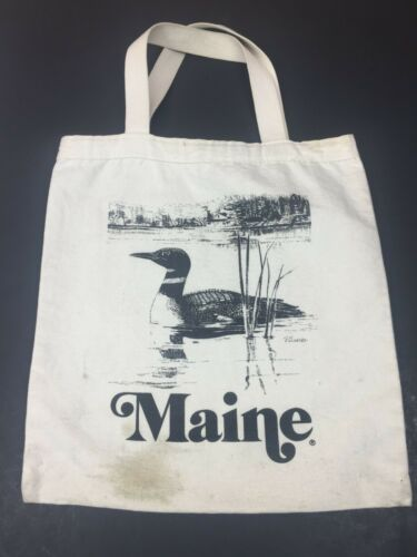 """Vintage Maine Cape Shore LOON Canvas Tote Shopping Bag 13"""""""