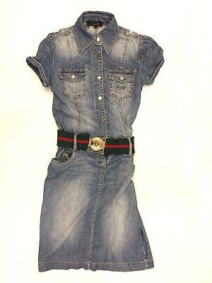 Vintage Gucci Dress Denim Jeans Web Belt Sz S