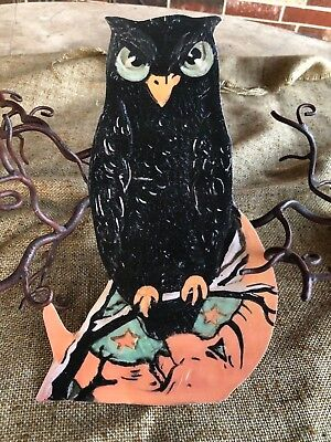 Repro 1920s Vintage Style Owl and Man in Moon Halloween Cardstock Decoration,10