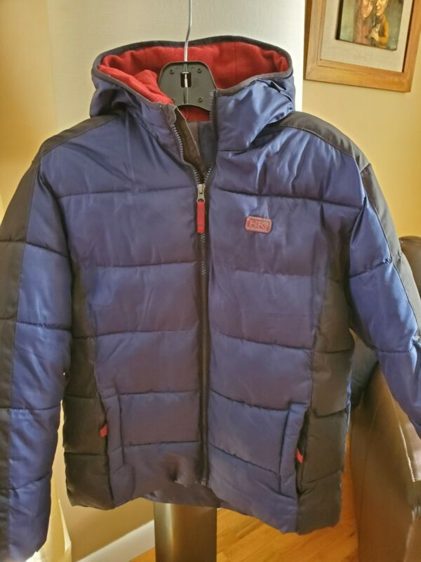 HAWKE & CO YOUTH HOODED NAVY BLUE and RED PUFFER JACKET SZ 18-20 EUC