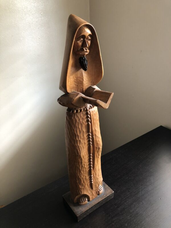 Fine Vintage Carved Wood Mexican Santo Santos Priest Robed Art Statue Sculpture