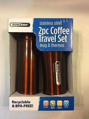 Subzero Stainless Steel 2 Pc Coffee Mug & Vacuum Thermos Travel Set Copper  New Copper Stainless Steel Mug
