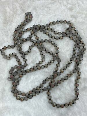 60 inch Necklace - 6mm Bead in Grey Matte Multi