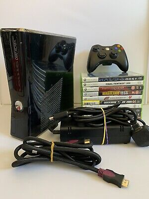 Xbox 360 250GB S Slim Console Bundle - 10 Games - Controller - All Cables