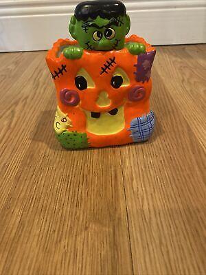 Vintage Ceramic Halloween Jack O Lantern With Frankenstein - Handpainted