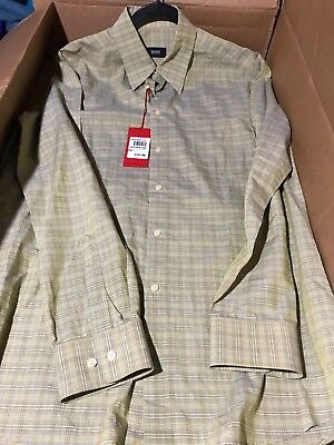 $155! NWT Hugo Boss Elisha Yellow Plaid Cotton Button Shirt 16 34/35 - NICE!