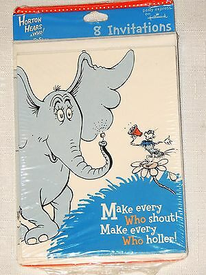 ~HORTON HEARS A WHO   Dr SEUSS ~ 8-INVITATIONS W/ ENVELOPES     PARTY SUPPLIES  - Dr Who Party Supplies