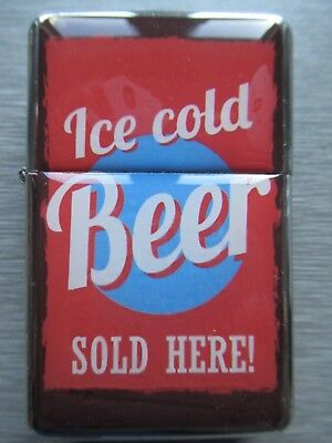 NEW Windproof Flip Top Lighter Vintage Retro Cold Beer Sign Design