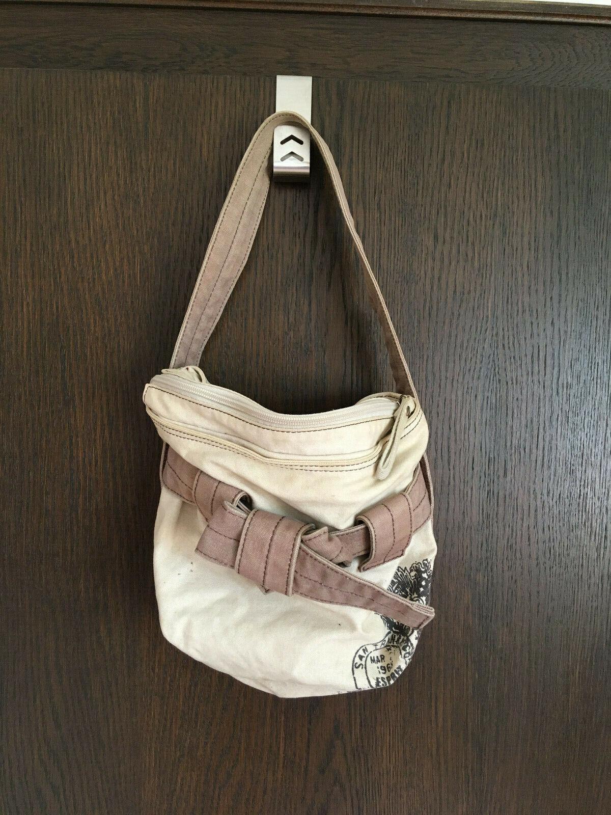 Esprit: kleine, gebrauchte, flotte Stoffhandtasche, beige/braun