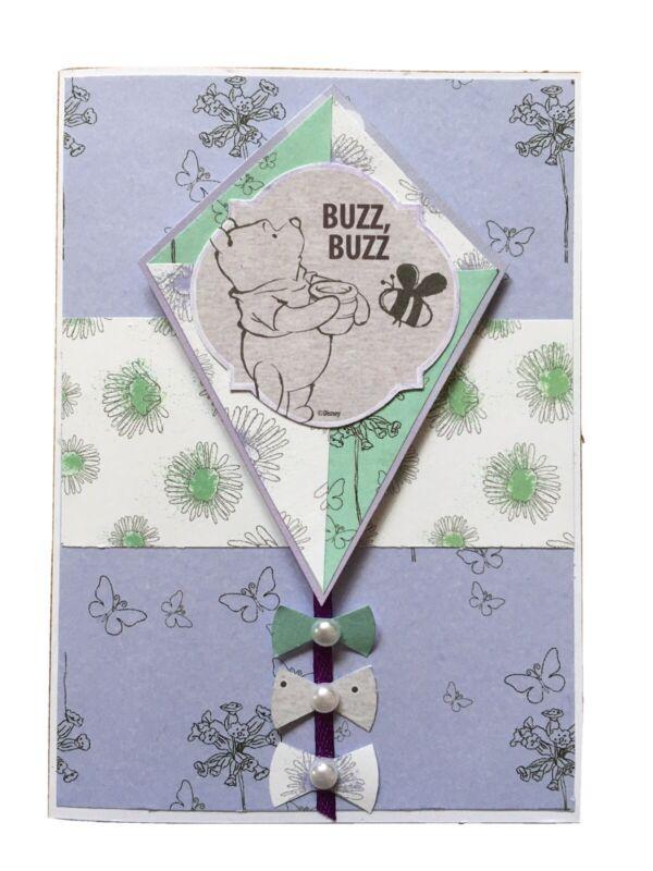Handmade+Greeting+Card+Winnie+The+Pooh.+Pearls+on+Kite+Bows.+Buzz+Buzz.+Blank