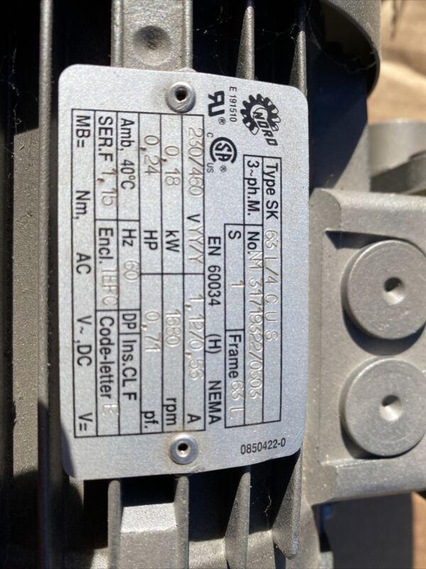 Nord SK1S32LX-63L/4 Gearmotor 65rpm 3ph 1/4hp 230/460v-ac
