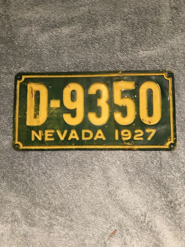 1927 Nevada Dealer License Plate D-9350