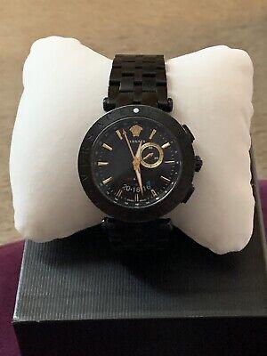 Versace Mens V Race 29G GMT Alarm Black Ion 46MM Watch