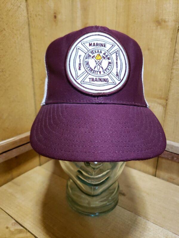 Vintage Marine Training Texas A&M University Snapback Hat Cap Maroon Fire Patch