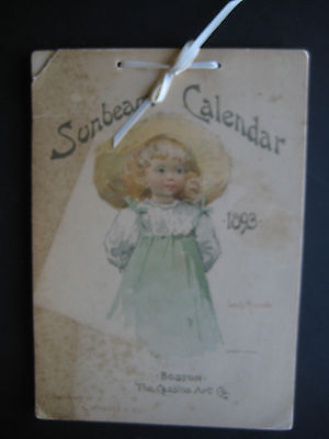 1893 Sunbeam Calendar w/ Louis Maynelle Illustrations - No Writing, Lovely Girls